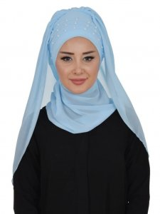 Diana Light Blue Practical Hijab Ayse Turban 326202b