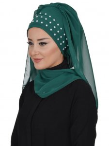 Diana Dark Green Practical Hijab Ayse Turban 326205a