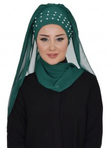Diana Dark Green Practical Hijab Ayse Turban 326205b