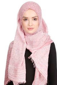Didem Gammelrosa Crinkle Bomull Hijab Sjal 400113a