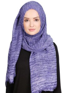 Didem Purple Crinkle Cotton Hijab Shawl Scarf  400110a