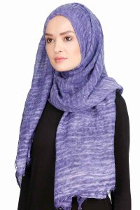 Didem Purple Crinkle Cotton Hijab Shawl Scarf  400110b
