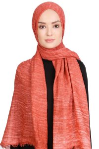 Didem Brick Red Crinkle Cotton Hijab Shawl Scarf 400112a