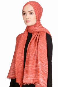 Didem Brick Red Crinkle Cotton Hijab Shawl Scarf 400112b