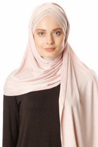 Duru - Dusty Pink & Light Taupe Jersey Hijab