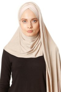 Duru - Light Taupe & Dusty Pink Jersey Hijab
