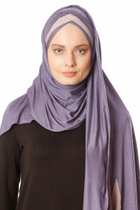 Duru - Dark Purple & Stone Grey Jersey Hijab