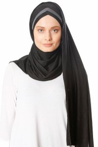 Duru - Black & Dark Grey Jersey Hijab