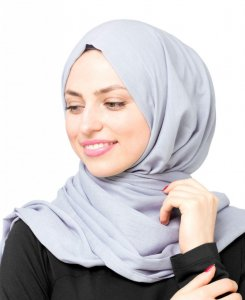 Dusty Blue Lila Bomull Voile Hijab 5TA22d