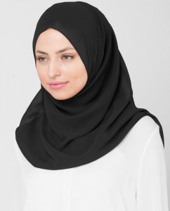 Eight Iron - Svart Georgette Hijab 5XA20a