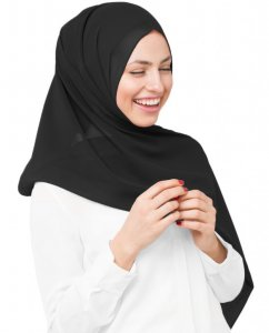 Eight Iron - Svart Georgette Hijab 5XA20b
