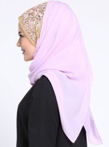 Esmeray Light Purple Chiffon Hijab Gulsoy 300304c