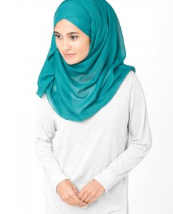 Everglade Teal Cotton Voile Hijab 5TA11