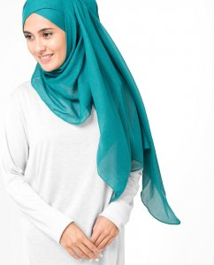 Everglade Teal Bomull Voile Hijab 5TA11b