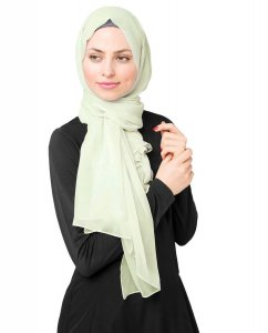 Fairest Jade Light Green Poly Chiffon Hijab Shawl 5RA46a