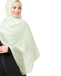 Fairest Jade Light Green Poly Chiffon Hijab Shawl 5RA46b