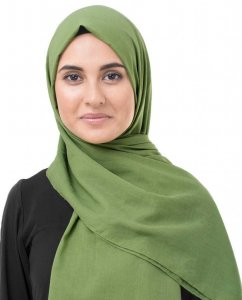 Forest Green Khaki Bomull Voile Hijab InEssence 5TA69a