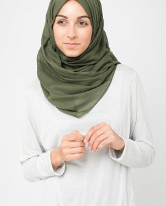 Forest Night Grön Bomull Voile Hijab 5TA10