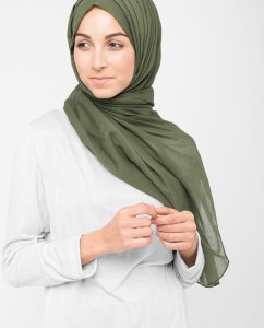 Forest Night Grön Bomull Voile Hijab 5TA10a