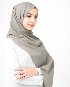 Fungi - Taupe Bomull Voile Hijab Sjal InEssence Ayisah 5TA48b
