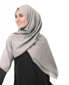 Ghost Grey Grå Bomull Voile Hijab 5TA77a