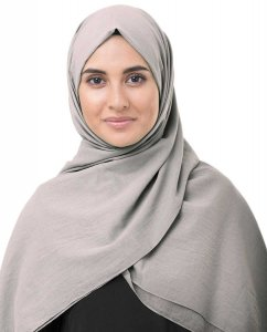 Ghost Grey Grå Bomull Voile Hijab 5TA77c