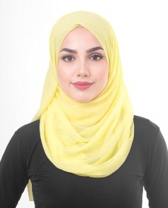 Goldfinch Yellow Poly Chiffon Hijab Shawl 5RA45a