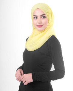 Goldfinch Yellow Poly Chiffon Hijab Shawl 5RA45b
