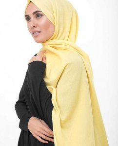 Goldfinch Light Yellow Cotton Voile Hijab InEssence 5TA64b