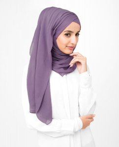 Grape Compote - Lila Poly Chiffon Hijab 5RA57a