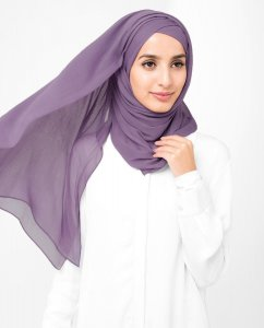 Grape Compote - Lila Poly Chiffon Hijab 5RA57b