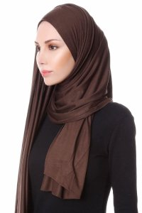 Hanfendy Brown Practical One Piece Hijab Scarf Shawl 201708b