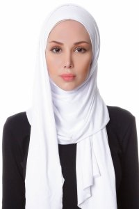 Hanfendy White Practical One Piece Hijab Scarf Shawl 201702a