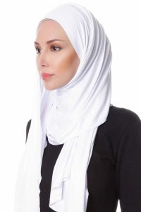 Hanfendy White Practical One Piece Hijab Scarf Shawl 201702b