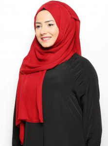 Hazal - Light Bordeaux Crepe Hijab - Ecardin 200007a