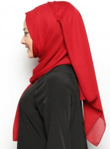 Hazal - Light Bordeaux Crepe Hijab - Ecardin 200007b