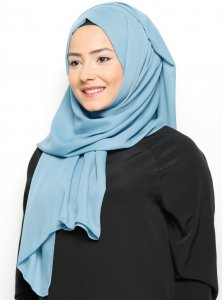 Hazal - Light Blue Crepe Hijab - Ecardin 200023a