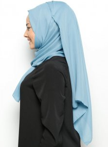 Hazal - Light Blue Crepe Hijab - Ecardin 200023b