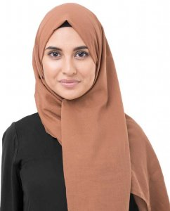 Hazel Brun Bomull Voile Hijab InEssence 5TA74a