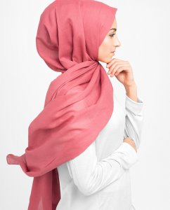 Hollyberry Pink Cotton Voile Hijab 5TA20