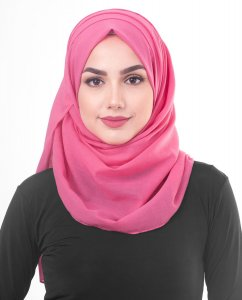 Honeysuckle - Fuschia Cotton Voile Hijab 5TA84a