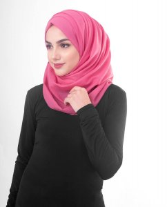 Honeysuckle - Fuschia Cotton Voile Hijab 5TA84b