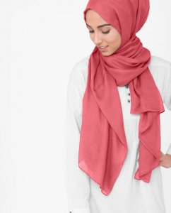 Hot Coral - Coral Viscose Hijab 5HA34b