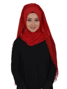 Ida Red Practical Hijab Ayse Turban 328506a