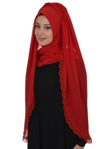 Ida Red Practical Hijab Ayse Turban 328506b