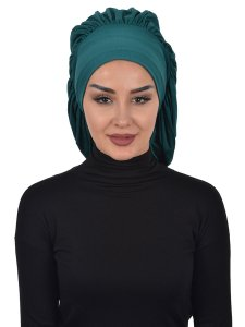 Isabella Dark Green Cotton Turban Ayse Turban 322514-1