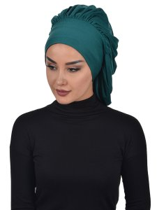 Isabella Dark Green Cotton Turban Ayse Turban 322514-2