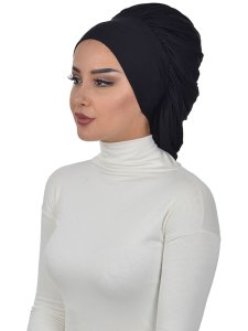 Isabella Black Cotton Turban Cancer Krebs Ayse Turban 322506-2