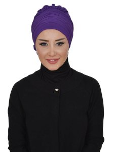 Jane Purple Chiffon Turban Ayse Turban 325912b