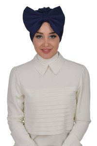 Julia - Navy Blue Cotton Turban